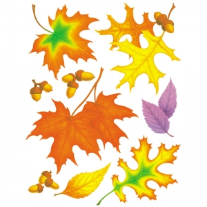 WINDOW CLING FALL LEAVES 12 X 17
