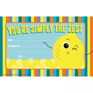 "Always Try Your Zest Recognition Award, 8 1/2"" x 5 1/2"", Pack of 36"