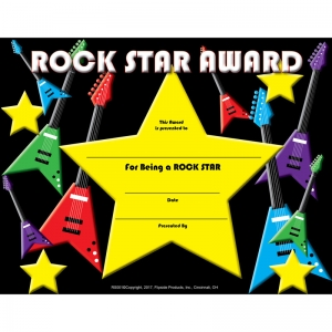 "Rock Star Award Certificate, 8.5"" x 11"", Pack of 30"