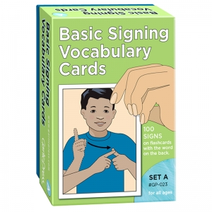 BASIC SIGNING VOCAB CARDS SET A  100/PK 4 X 6