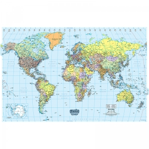 WORLD LAMINATED MAP 50 X 33