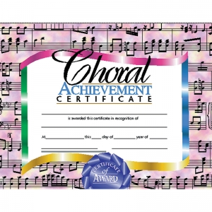 CERTIFICATES CHORAL 30/SET  ACHIEVEMENT CERTIFICATE