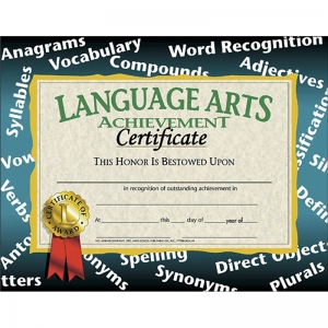 CERTIFICATES LANGUAGE ARTS 30/PK  ACHIEVEMENT 8.5 X 11