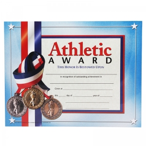 "Athletic Award Certificate, 8.5"" x 11"", Pack of 30"