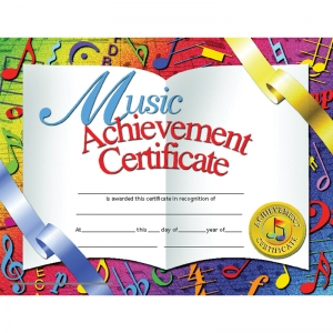 CERTIFICATES MUSIC 30/PK 8.5 X 11  ACHIEVEMENT INKJET LASER
