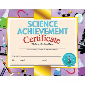 SCIENCE ACHIEVEMENT 30/PK 8.5 X 11  CERTIFICATE INKJET LASER