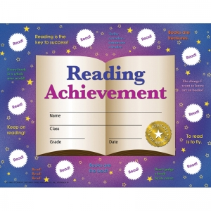 "Reading Achievement Certificates and Reward Seals, 8.5"" x 11"", 30 Certificates"