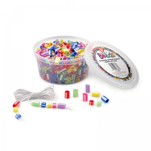 Bucket O� Beads, Striped Straw, Asstd Sizes, 100's/pkg