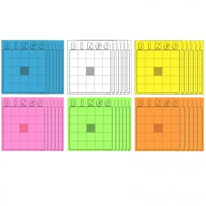 BLANK BINGO CARDS ASSORTED COLORS