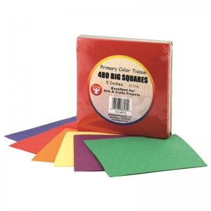 TISSUE PAPER 480CT 5IN SQUARES  PRIMARY COLORS