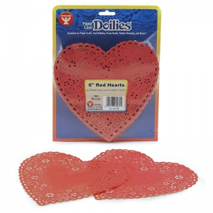 DOILIES 6 RED HEARTS 100/PK