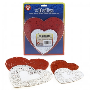 DOILIES WHITE & RED HEARTS 24 EACH  4IN 6IN