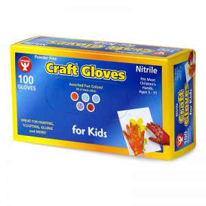 Colored Nitrile (LatexFree) Craft Gloves, Kids Size, Pack of 100