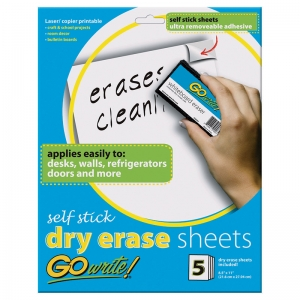 DRY ERASE SHEETS SELF STICK 8 1/2