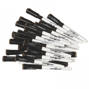 KLEENSLATE REPLACEMENT MARKERS 24PK  BLACK W/ ERASERS