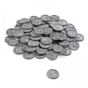 PLAY MONEY QUARTERS 100/PK PLASTIC