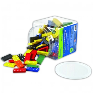 Double-Six Colored Dominoes in a Bucket, Set of 168