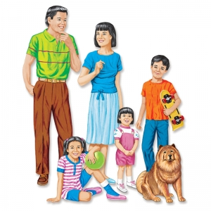 ASIAN FAMILY FLANNELBOARD SET  PRE-CUT