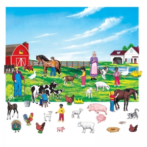 FARM SET 6IN FIGURES WITH UNMOUNTED  BACKGROUND
