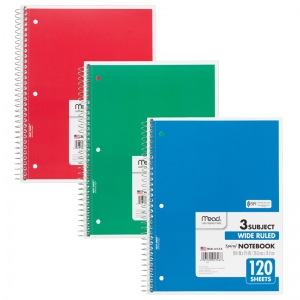 NOTEBOOK SPIRAL 3 SUBJECT 120 CT  10 1/2 X 8