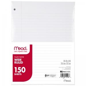 NOTEBOOK PAPER WIDE RULED 150CT