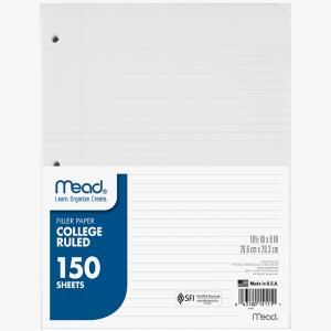 NOTEBOOK PAPER COLLEGE RULED 150CT