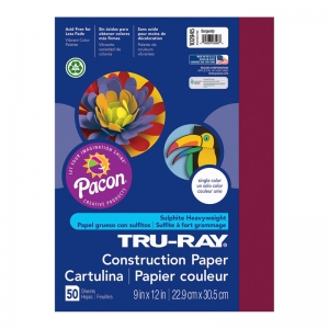 TRU RAY 9 X 12 BURGUNDY 50 SHT  CONSTRUCTION PAPER