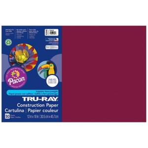 "TruRay Construction Paper, Burgundy, 12"" x 18"", 50 Sheets"