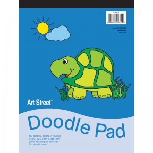 "Art Street Doodle Pad, White, 9"" x 12"", 80 Sheets"