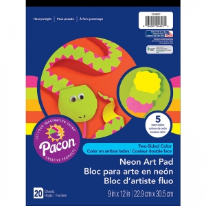 "Art Street Neon Art Paper Pad, 4 Assorted Colors, 9"" x 12"", 20 Sheets"