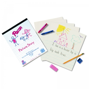 "Pacon Newsprint Handwriting Tablet, Picture Story, 9"" x 12"", Ruled Short, 50 Sheets"