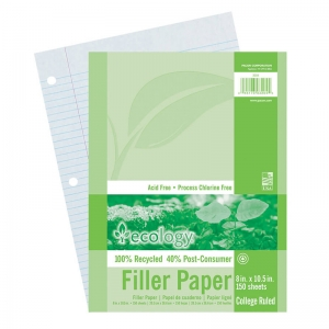"Ecology Recycled Filler Paper, White, 3-Hole Punched, 8"" x 10-1/2"", 150 Sheets"