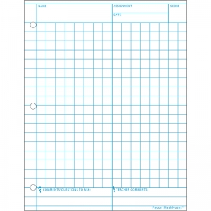 "MathNotes Graphing Paper, White, 3-Hole Punched, 8-1/2"" x 11"", 150 Sheets"