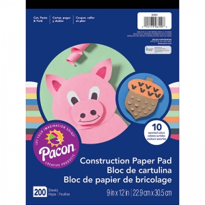RAINBOW SUPER VALUE CONSTRUCTION  PAPER 9 X 12 PAD 200 SHEETS