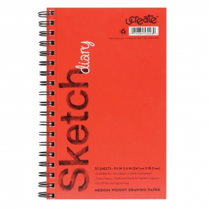"Sketch Diary, Medium Weight, 9-1/2"" x 6"", 70 Sheets"