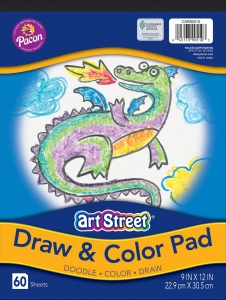 "Draw & Color Pad, White, 9"" x 12"", 60 Sheets"