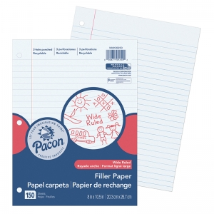 PACON FILLER PAPER WIDE RULE 3/8IN  RULING
