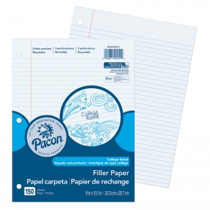 PACON FILLER PAPER COLLEGE RULE  9/32IN RULING
