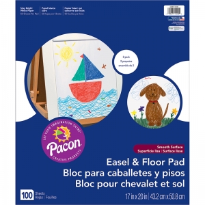 "Pacon Easel & Floor Pad, White, 17"" x 20"", Two 50 Sheet Pads"