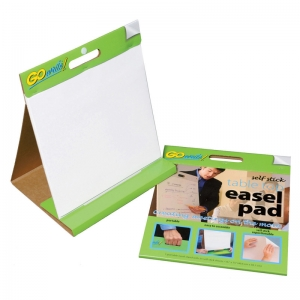 "GoWrite! Table Top Easel Pad, Self-Adhesive, White, 16"" x 15"", 25 Sheets"