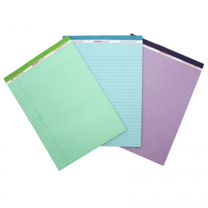 LEGAL PAD STANDARD ASSORTED 3 PACK  ORCHID BLUE AND GREEN