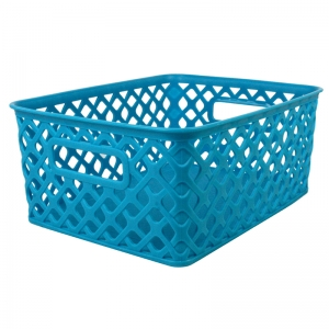 SMALL TURQUOISE WOVEN BASKET