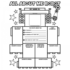 Graphic Organizer Poster, All-About-Me Robot, Grades K-2