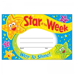 STAR OF THE WEEK WAY TO SHINE  RECOGNITION AWARDS