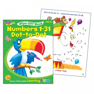 NUMBERS 1-31 DOT TO DOT WIPE OFF  BOOK