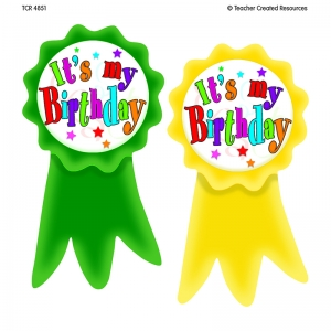 BIRTHDAY RIBBONS WEAR EM BADGES
