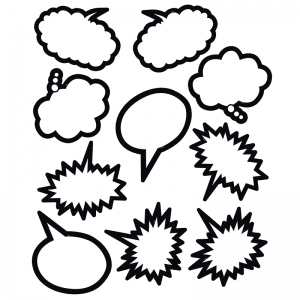 SUPERHERO BLACK & WHITE SPEECH  THOUGHT BUBBLES ACCENTS