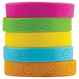 HAPPY FACES WRISTBANDS 10/PK