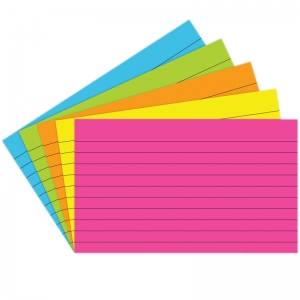 INDEX CARDS 3X5 LINED 75 CT BRITE  ASSORTED