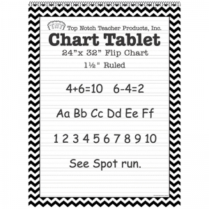 BLACK CHEVRON BORDER CHART TABLET  24X32 1 1/2IN RULED